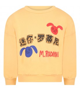 Yellow sweatshirt for kids with rabbits