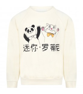 Ivory sweatshirt for kids with cat and panda