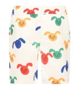 Ivory swim short for boy with rabbits