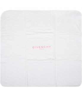 White blanket for babygirl with logo