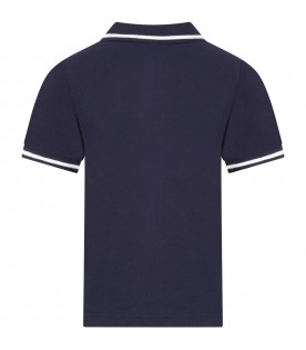 Blue polo for boy with logo