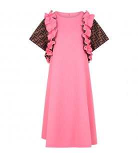 Fuchsia dress for girl with iconic double FF