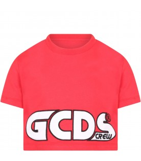 Red t-shirt for girl with logo