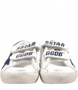 White ''Old school'' sneaker for kids with blue star