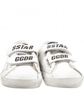 White ''Old school'' sneaker for kids