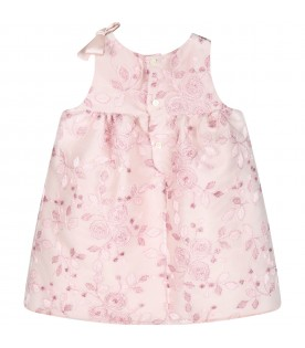 Lilac dress for babygirl with flowers
