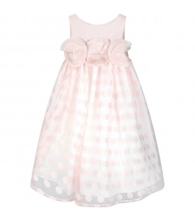 Pink dress for girl with polka-dots