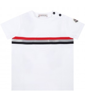 White t-shirt for babyboy with patch