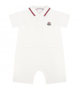 Ivory romper for babyboy with patch