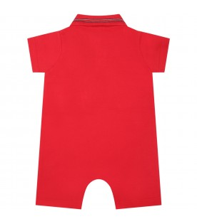 Red romper for babyboy with patch