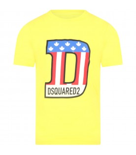 Yellow t-shirt for boy with maxi D
