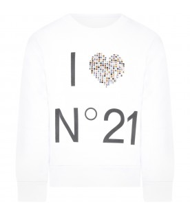 White sweatshirt for girl with heart