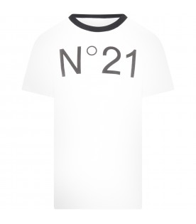 White t-shirt for boy with logo