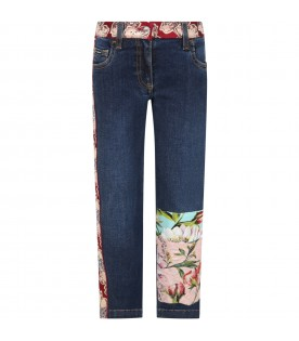 Blue jeans for girl with iconic patch