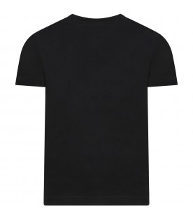 Black t-shirt for boy with logo