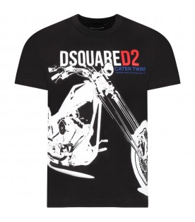 Black t-shirt for boy with motorcycle