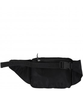 Black bum-bag for kids with logo