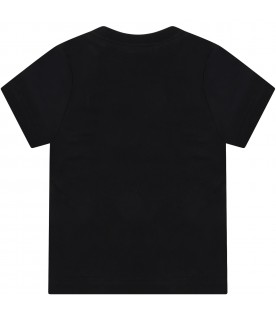 Black t-shirt for babyboy with logos