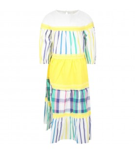 White dress for girl wwith stripes