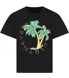 Black t-shirt for kids with palms