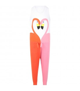 Multicolor jumpsuit for girl with flamingos