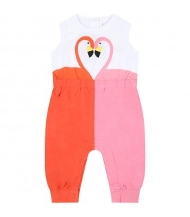 Multicolor jumpsuit for babygirl with flamingos