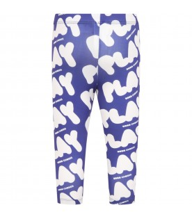Blue swim leggings for kids with logos