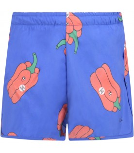 Blue swimsuit for boy with peppers