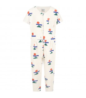 Ivory jumpsuit for girl with logos