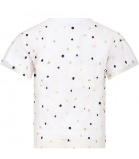White t-shirt for girl with polka-dots