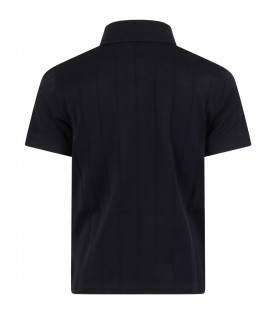 Blue polo shirt for boy with eagle