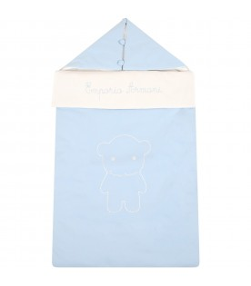 Light blue sleeping bag for babyboy with logo