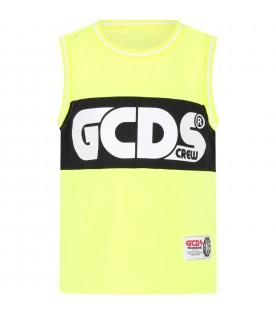 Neon yellow tank top for kids with logo