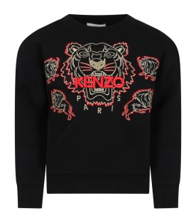 Black sweatshirt for boy with iconic tiger