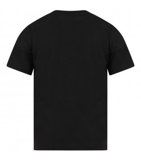 Black t-shirt for kids with tiger