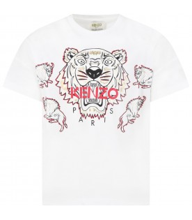 White t-shirt for kids with tiger