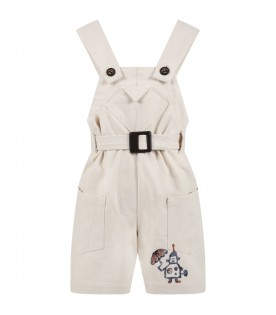Ivory overalls for kids with robot