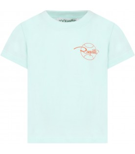 Teal green t-shirt for kids with logo