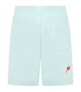 Teal green short for kids with racket