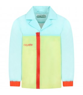 Multicolor windbreaker for kids with logo