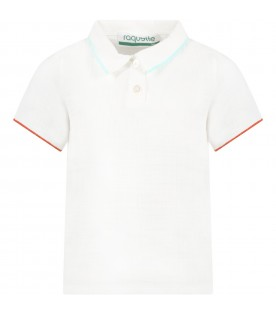 White polo shirt for kids with logo