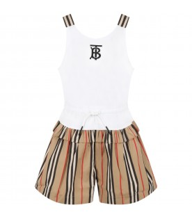 Multicolor jumpsuit for girl with logo