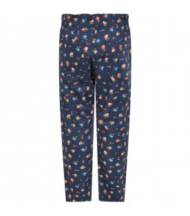 Blue trouser for girl with flowers