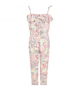 White jumpsuit for girl with flowers