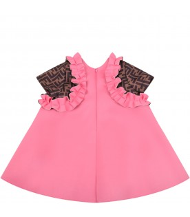 Pink dress for babygirl with iconic double FF