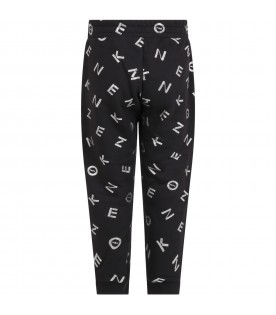 Black sweatpants for girl with logos