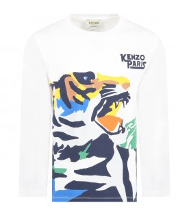 White t-shirt for boy with tiger