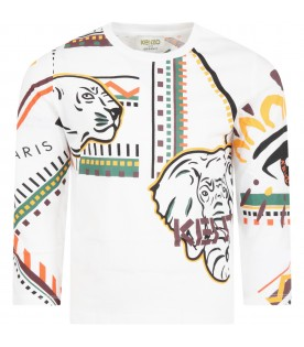 White t-shirt for boy with animals