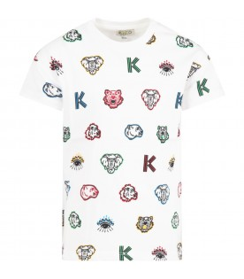 White t-shirt for kids with iconic prints