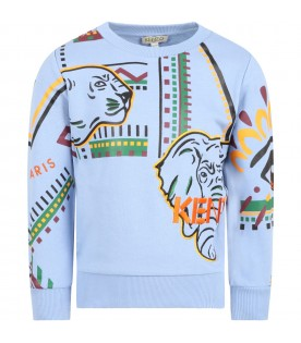 Light blue sweatshirt for boy with animals